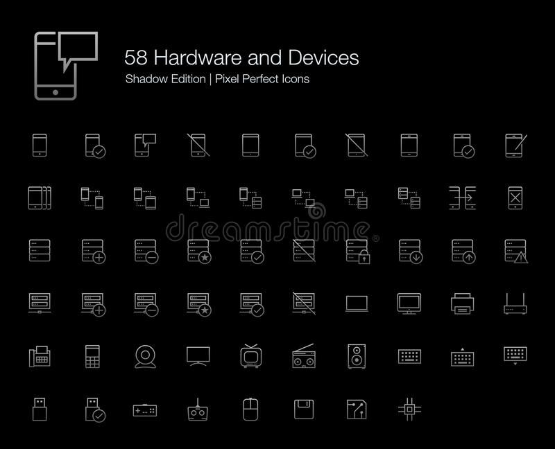 Mobile Icons Computer and Server Set for Black Background stock illustration