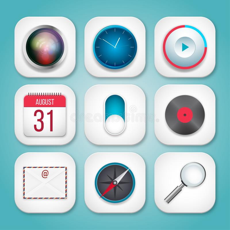 Mobile Icons for IOS detailed. Mobile Icons for IOS These are icons created on the basis of IOS icons and detailed with gradients and shadows stock illustration