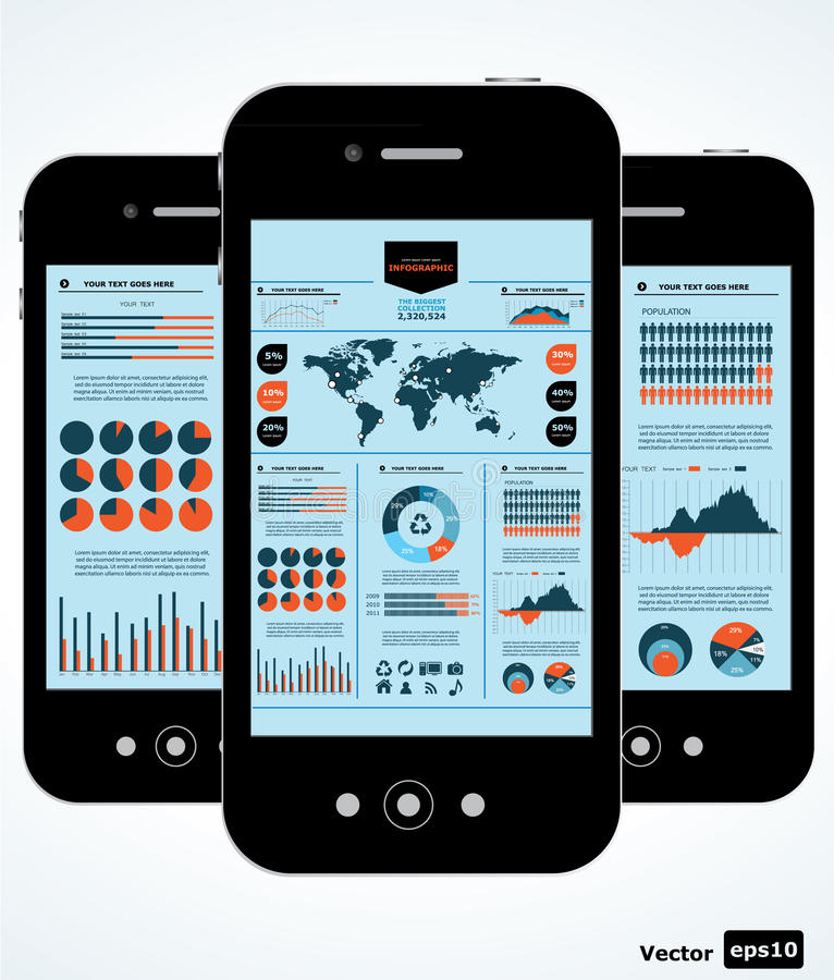 Mobile infographic. Set of graphs and chats