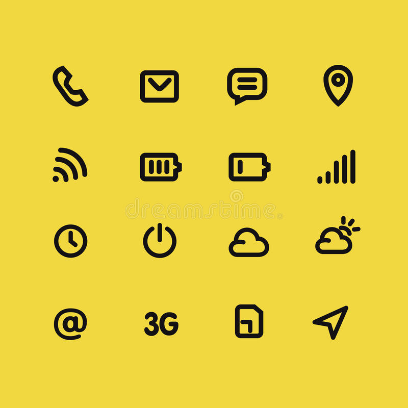 Mobile interface and apps line icon set. Yellow vector background vector illustration
