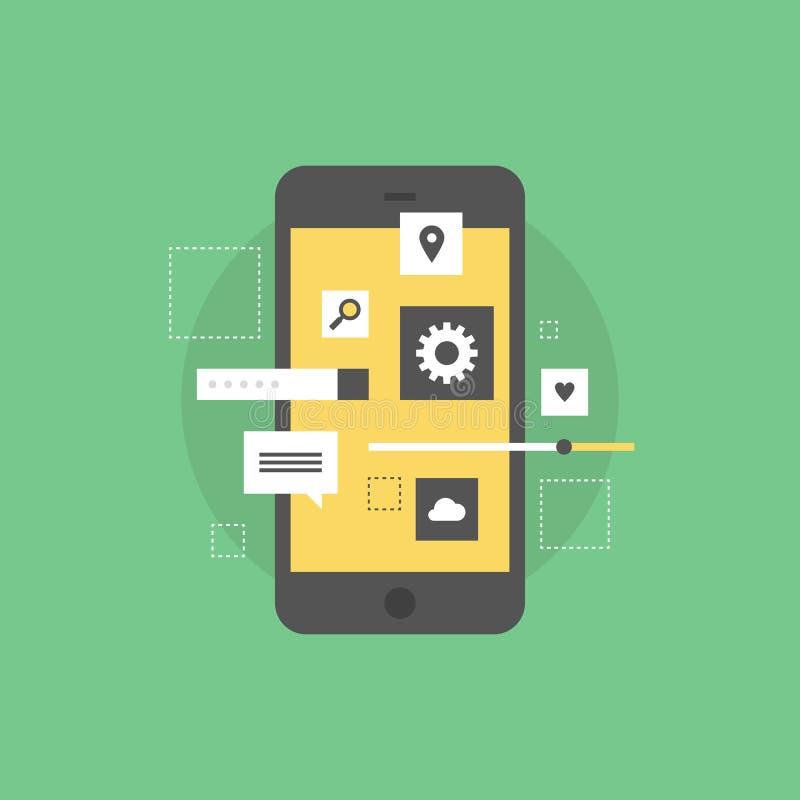 Mobile interface develop flat icon illustration. Smartphone user interface development, creating mobile phone application, setting UI menu and navigation stock illustration