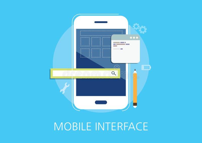 Mobile interface developer concept flat icon.  royalty free illustration