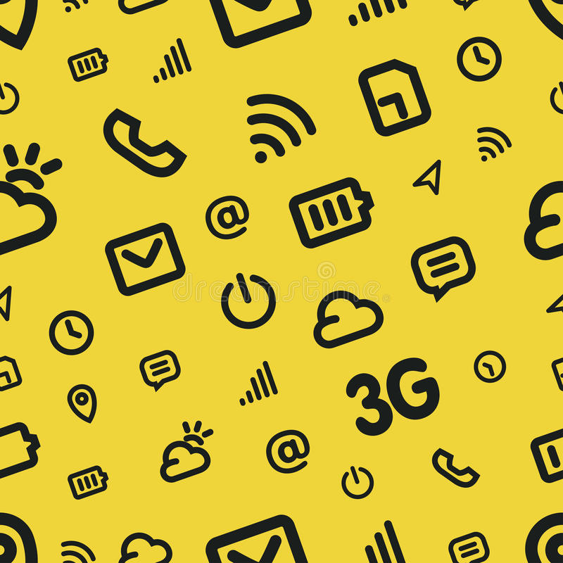 Mobile Interface Icon Pattern. Yellow vector background stock illustration