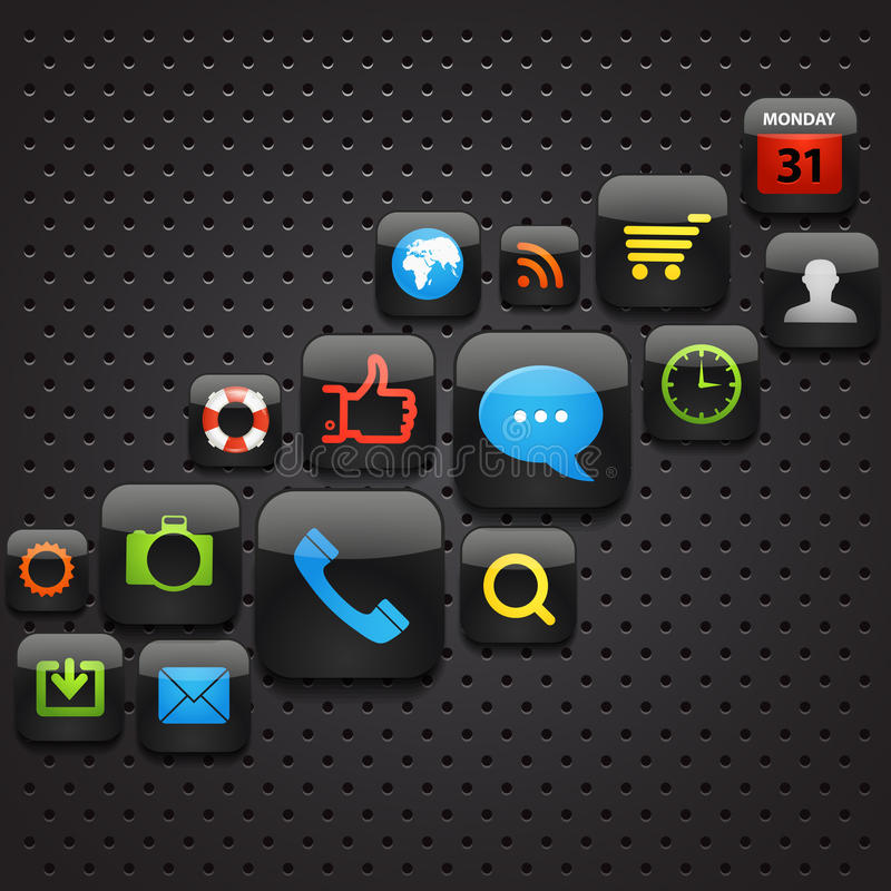 Mobile interface icons. Abstract background vector illustration