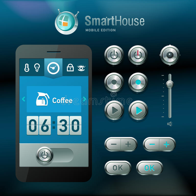 Mobile Interface And Vector Elements. Stock Photos