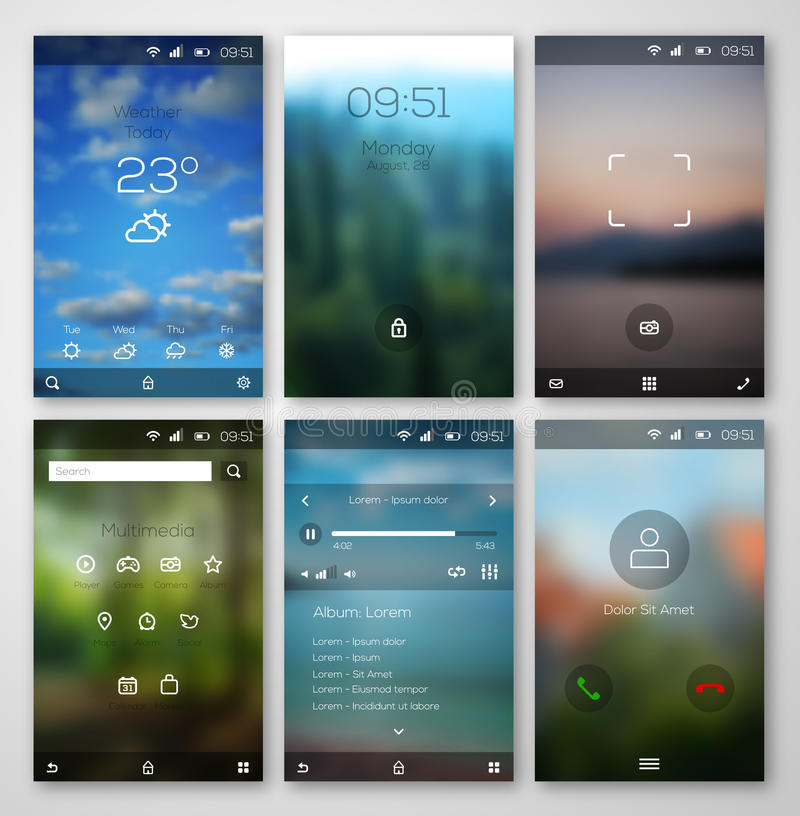 Mobile interface wallpaper design and icons. royalty free illustration