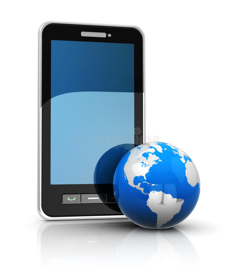Mobile internet. Phone and earth, mobile internet concept royalty free illustration