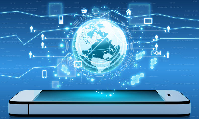 Mobile Internet and applications from around the. World on your phone royalty free illustration
