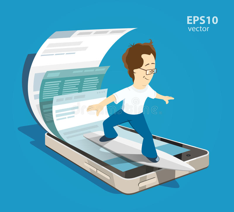 Mobile internet surfing vector illustration