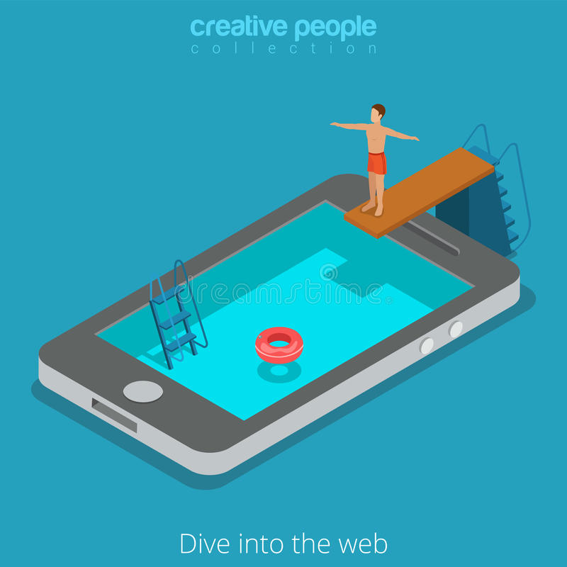 Mobile internet surfing www web phone flat isometric vector 3d royalty free illustration