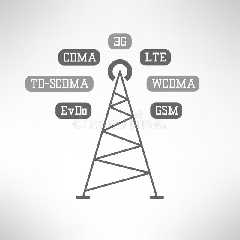 Mobile internet tower infographics. Vector. Mobile signal tower station made in modern flat design. Mobile internet infographics. Vector illustration stock illustration