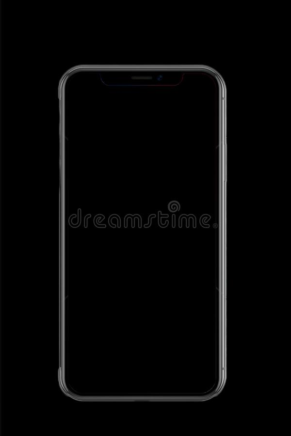 A mobile iPhone X in black paper. They are the mobile of iPhone X in the black paper,the hottest phone now stock photo