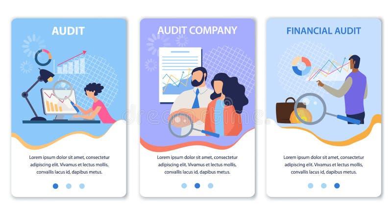 Mobile Landing Page Set Offing Financial Audit royalty-vrije illustratie