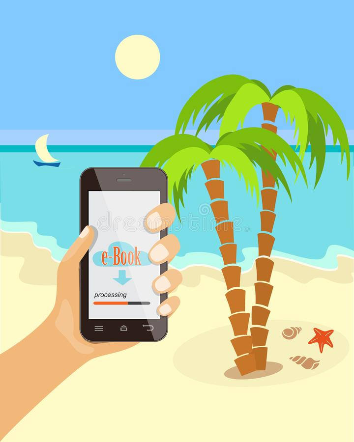 Mobile learning on the beach with mobile phone royalty free stock image