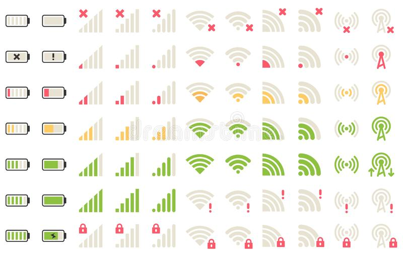 Mobile level icons. Network signal, wifi connection and battery levels icon. Gadgets batteries, phone signals pictogram. Or wifi status charger bar. Isolated vector illustration