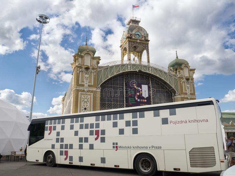 Mobile library on Book World Prague 2019 royalty free stock photos