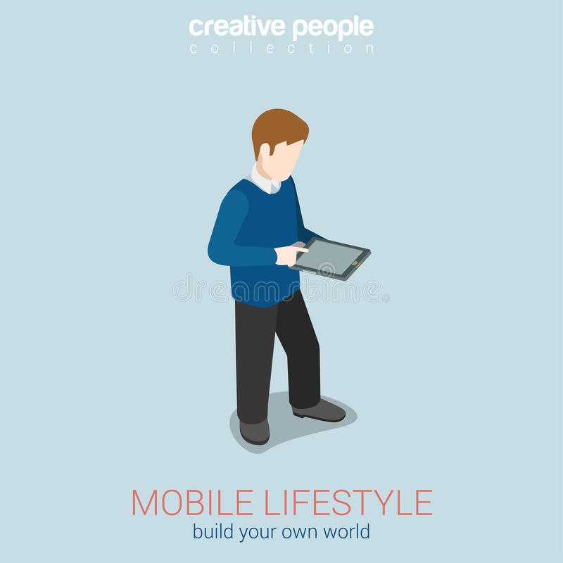 Mobile lifestyle flat 3d web isometric infographic concept. Vector. Man touching tanlet blank screen. Build your own world creative people collection royalty free illustration