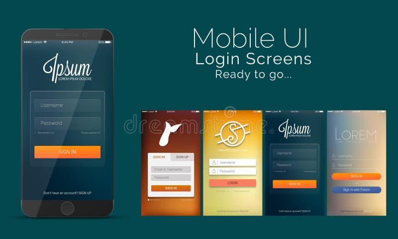 Mobile Login Screens, Material Design, UI, UX kit. stock illustration