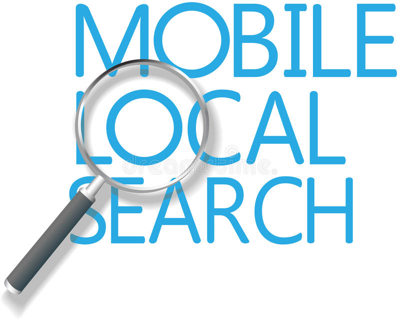 Mobile-lokales Suchmarketing stock abbildung