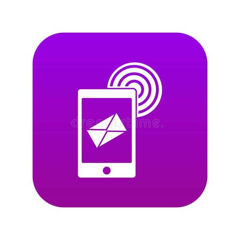 Mobile mail sign icon digital purple. For any design isolated on white vector illustration vector illustration