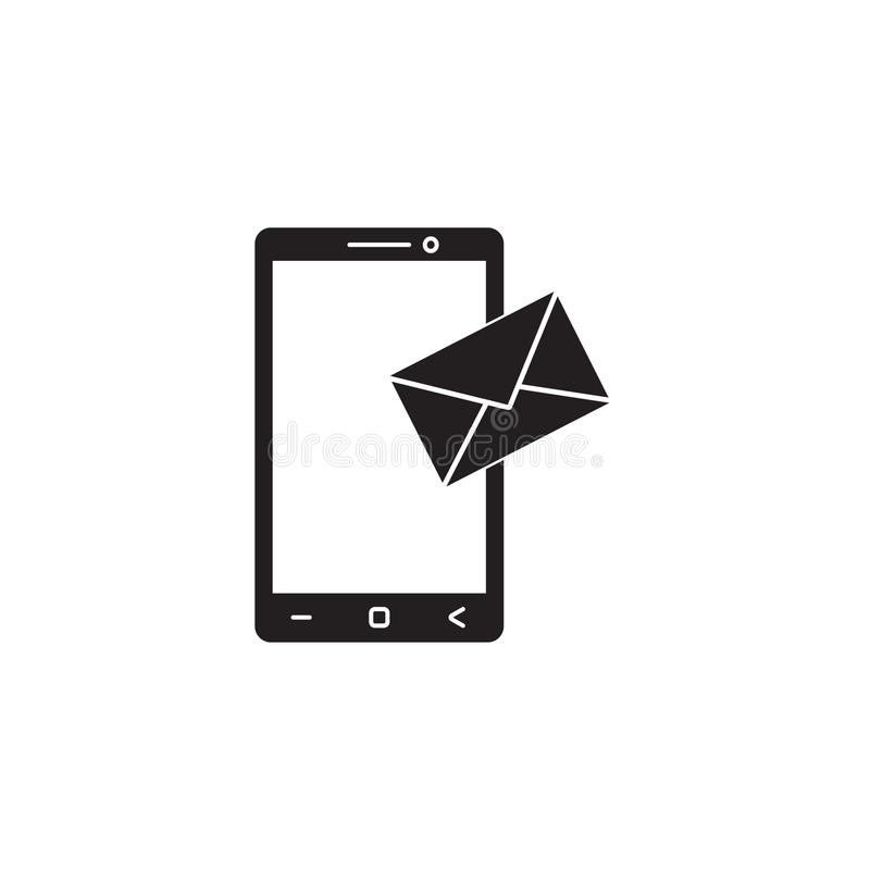 Mobile mail solid icon, sms sign, message stock illustration