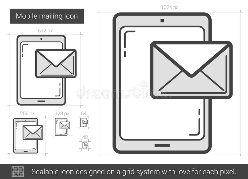 Mobile mailing line icon. vector illustration