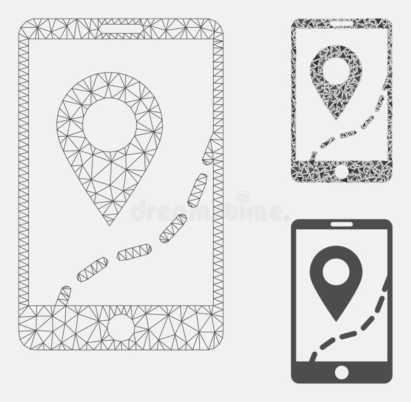 Mobile Map Navigation Vector Mesh 2D Model and Triangle Mosaic Icon. Mesh mobile map navigation model with triangle mosaic icon. Wire carcass polygonal mesh of royalty free illustration