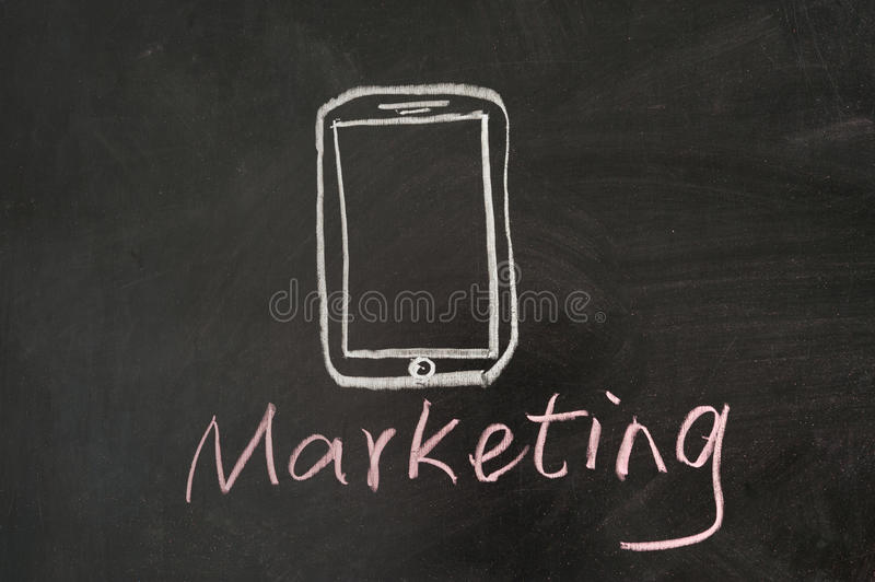 Mobile marketing. Concept drawn on blackboard stock images