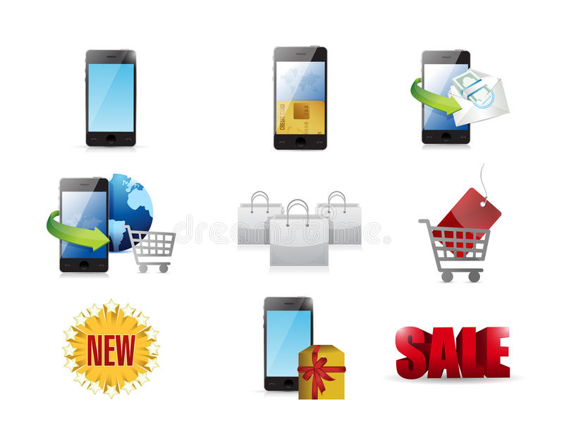 mobile marketing concept icon set vector illustration