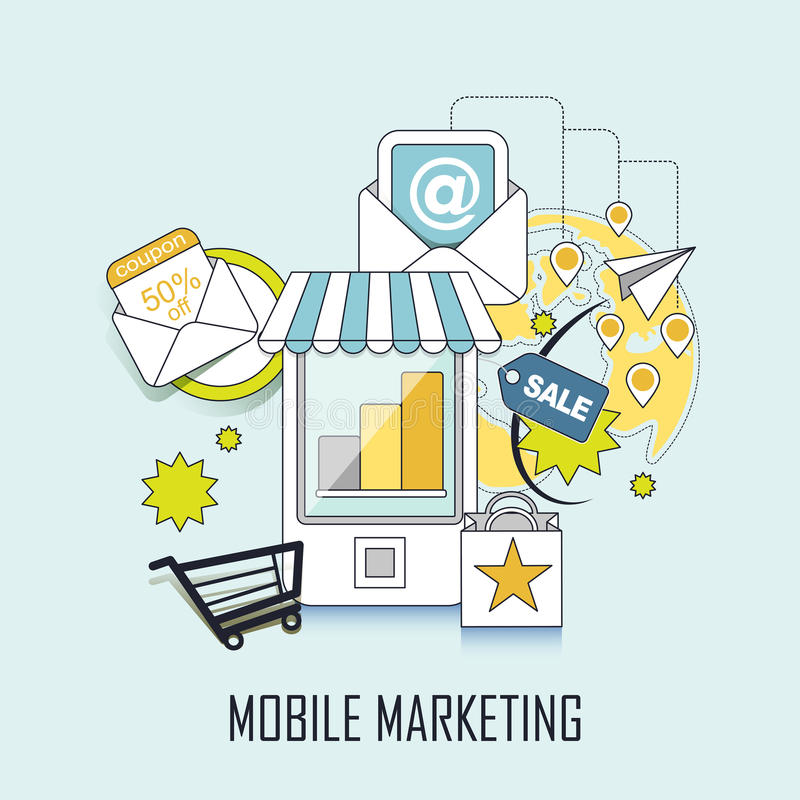 Mobile marketing concept royalty free illustration