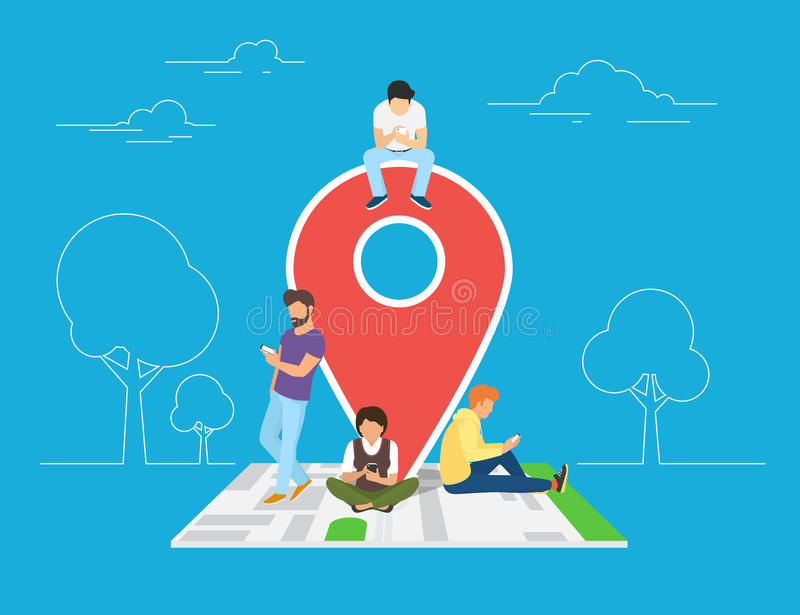 Mobile marketing with map tag concept illustration. Of young people using mobile smartphone to find shopping mall, events and offers. Flat guys and women royalty free illustration