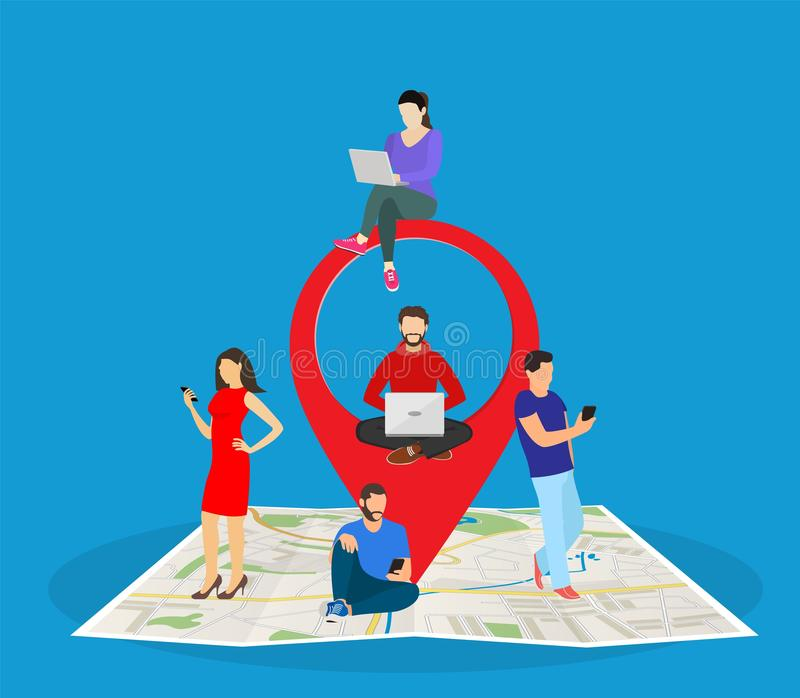 Mobile marketing with map tag concept vector illustration
