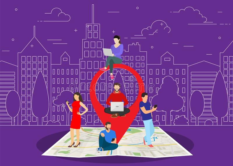 Mobile marketing with map tag concept. People using mobile smartphone to find shopping mall, events and offers. Vector illustration in flat style vector illustration