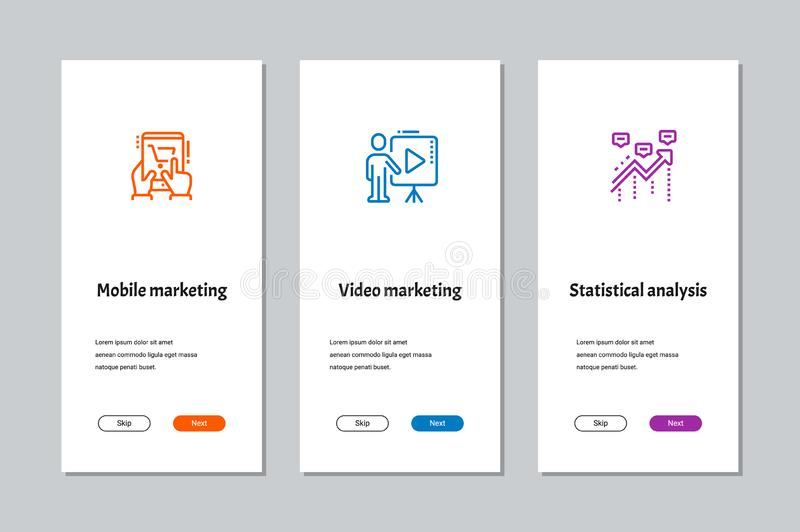 Mobile marketing, Video marketing, Statistical analysis onboarding screens royalty free illustration
