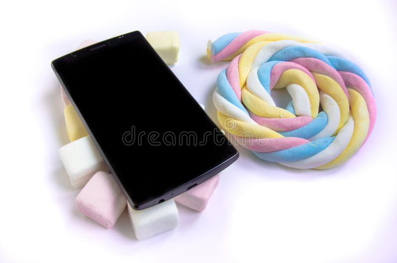 Mobile and Marshmallow stock image