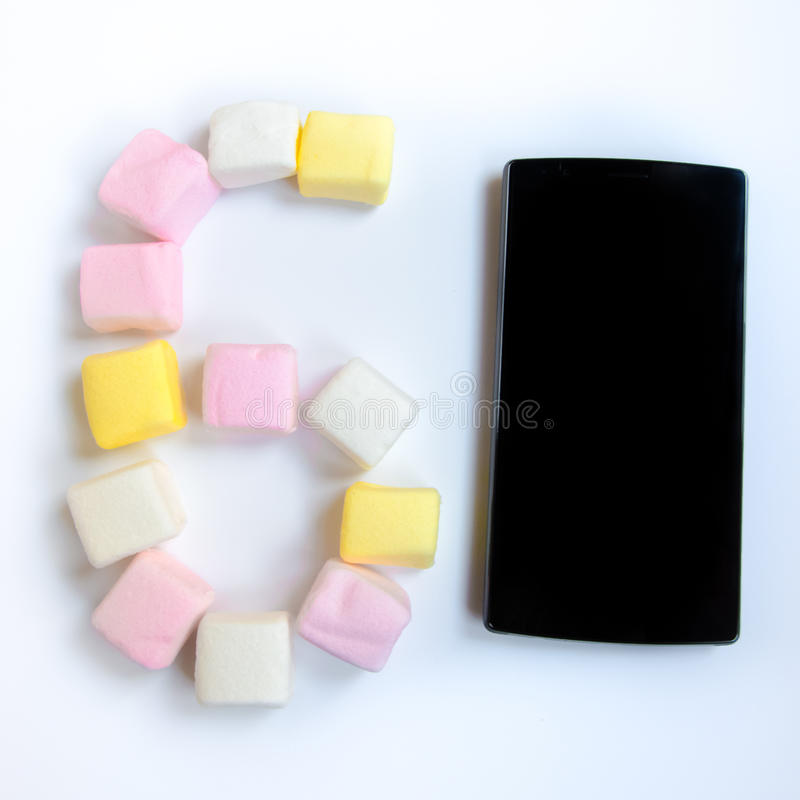 Mobile and Marshmallow Google Android version 6.0 stock photography