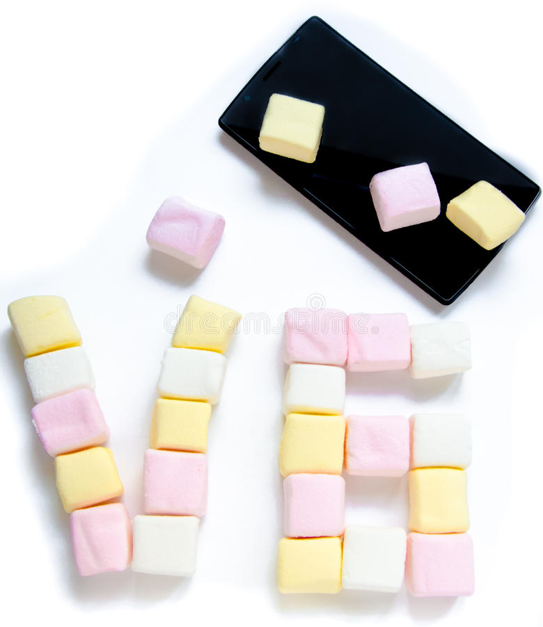 Mobile and Marshmallow with a six zero number royalty free stock photography