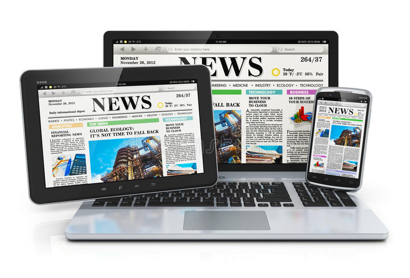 Mobile media devices. Concept: office laptop, tablet PC computer and black glossy touchscreen smartphone with internet web business news on screen isolated on stock illustration