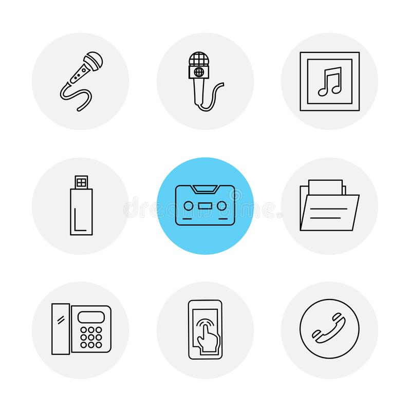 Mobile, media, multimedia , call , phones , eps icons set vect. Mobile, media, multimedia , call , phones , user interface , messages , wifi , internet , icon stock illustration
