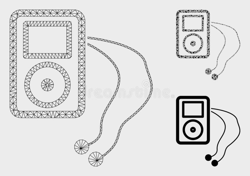 Mobile Media Player Vector Mesh Carcass Model and Triangle Mosaic Icon vector illustration