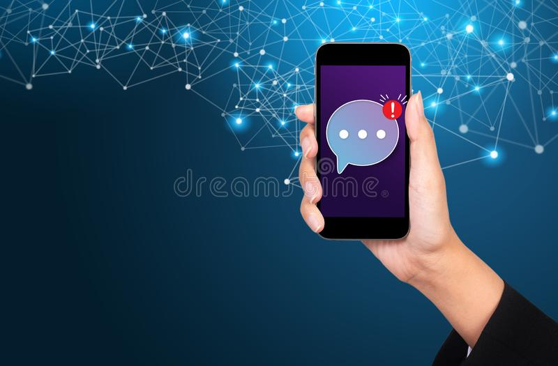Mobile messenger concept, Mobile messenger app for texting messages to friends stock images
