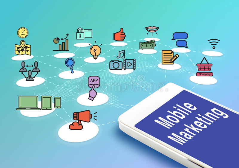 Mobile with mobile marketing and icons, Digital Marketing concept. stock illustration