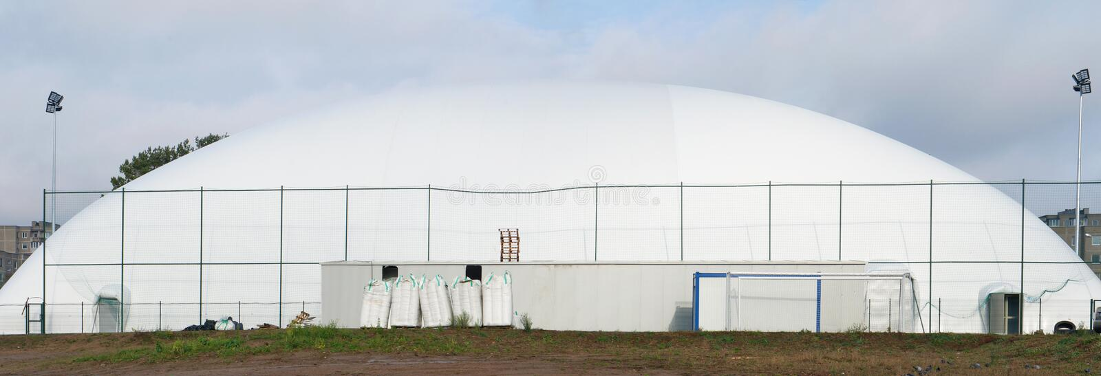 Mobile modern city basketball and football stadium made of an inflatable canvas dome. Mobile modern city basketball and football stadium made of an inflatable stock photography
