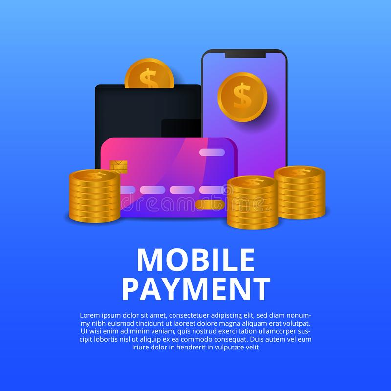 Mobile modern payment concept illustration with golden coin, phone, credit card vector illustration
