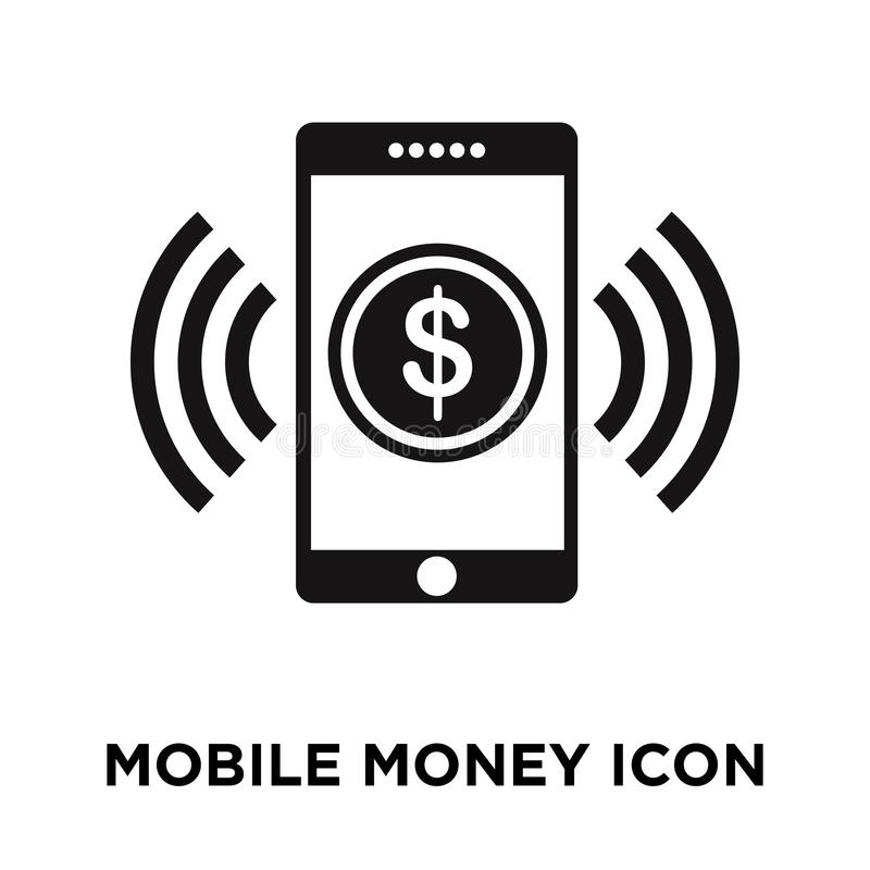 Mobile money icon vector isolated on white background, logo concept of Mobile money sign on transparent background, black filled. Mobile money icon vector vector illustration