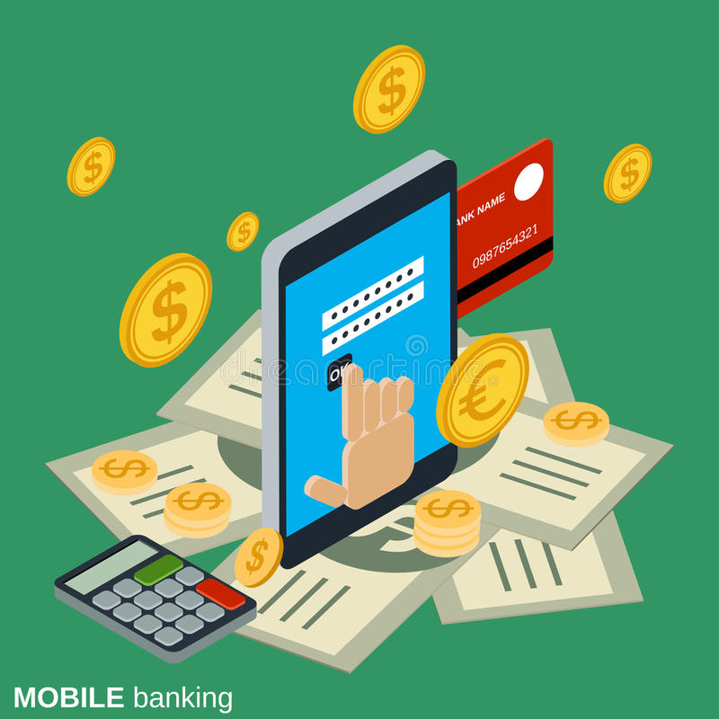 Mobile money transfer, payment, online banking, financial transaction stock illustration