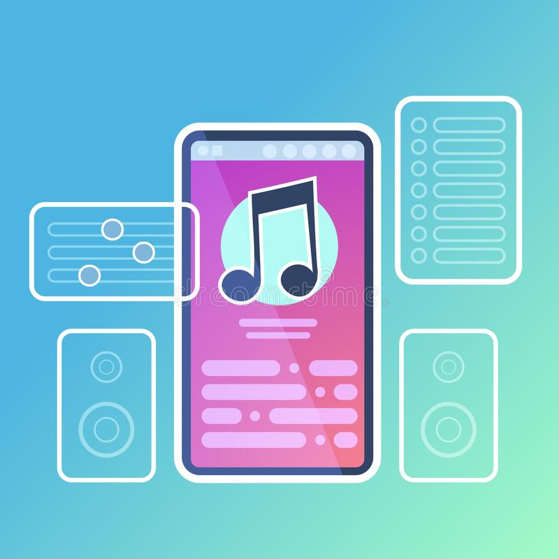 Mobile music player application interface audio sound online concept for design work and animation flat royalty free illustration