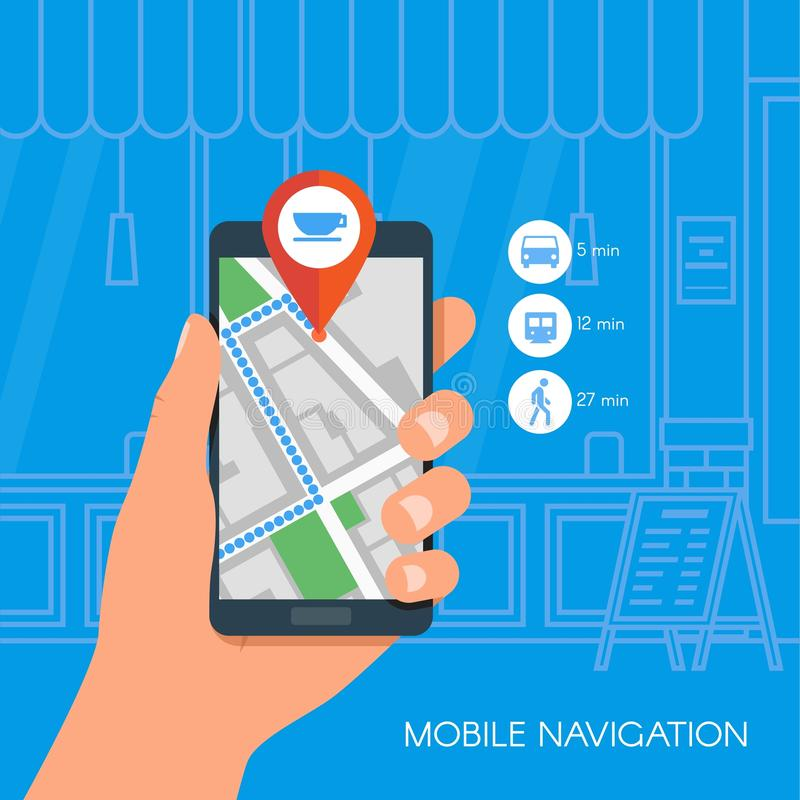Mobile navigation concept vector illustration. Hand holding smartphone with gps city map on screen and route. Flat royalty free illustration
