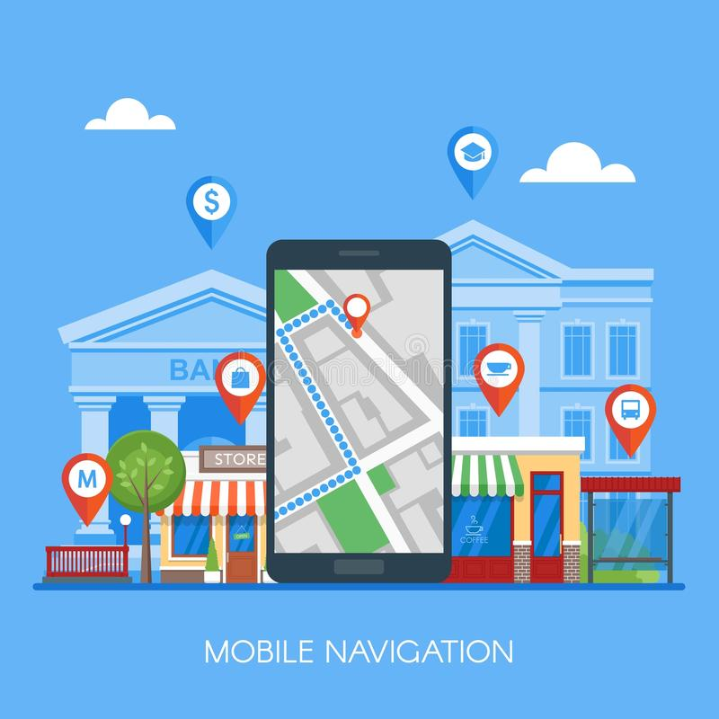 Mobile navigation concept vector illustration. Smartphone with gps city map on screen and route. Check-in symbols. Flat design royalty free illustration
