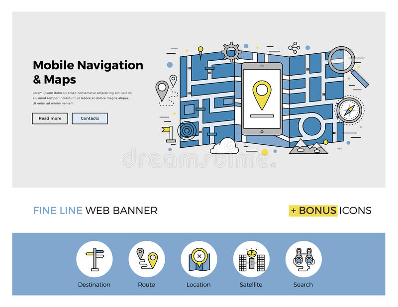 Mobile navigation flat line banner. Flat line design of web banner template with outline icons of mobile navigation GPS system, tracking map location and find vector illustration